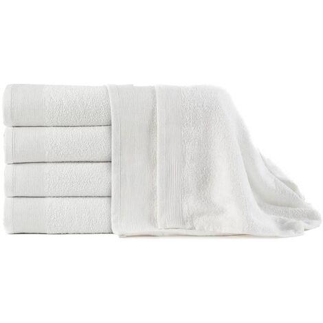vidaXL Bath Towels 5 pcs Cotton 450 gsm 100x150 cm White - White