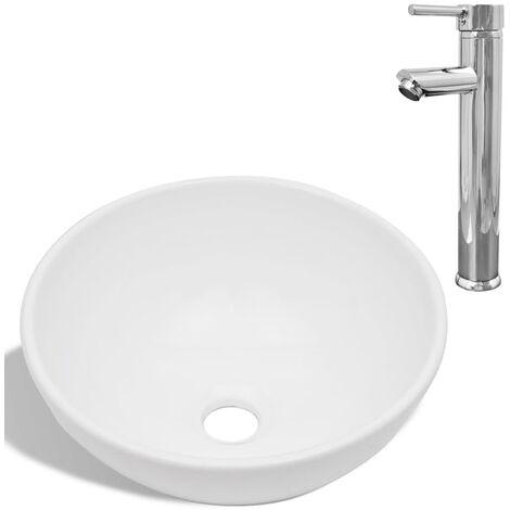 "main image of ""vidaXL Bathroom Basin with Mixer Tap Ceramic Storage Cabinet Drawer Unit Home Living Room Wardrobe Organiser Cabinet White Multi Shape"""