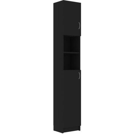 vidaXL Bathroom Cabinet Black 32x25.5x190 cm Chipboard - Black
