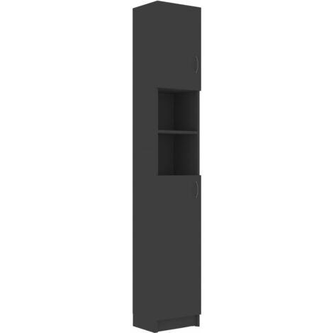 vidaXL Bathroom Cabinet Grey 32x25.5x190 cm Chipboard - Grey