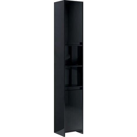 vidaXL Bathroom Cabinet High Gloss Black 30x30x183.5 cm Chipboard - Black
