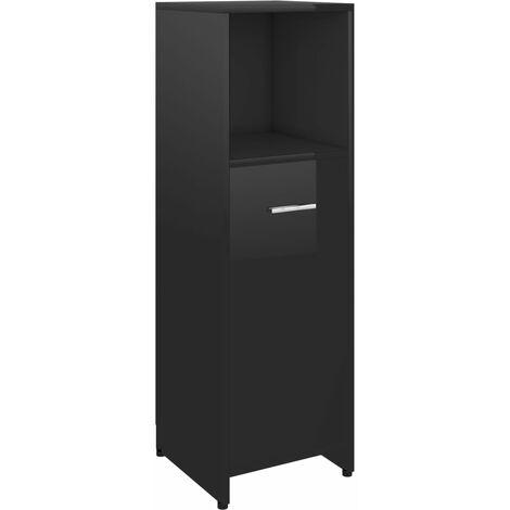 vidaXL Bathroom Cabinet High Gloss Black 30x30x95 cm Chipboard - Black