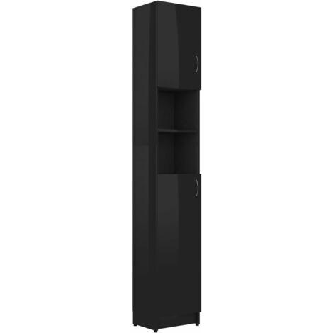 vidaXL Bathroom Cabinet High Gloss Black 32x25.5x190 cm Chipboard - Black