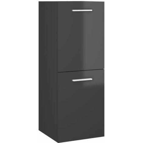 vidaXL Bathroom Cabinet High Gloss Grey 30x30x80 cm Chipboard - Grey
