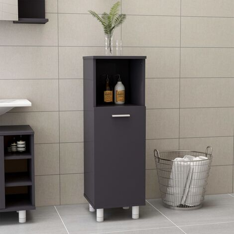 vidaXL Bathroom Cabinet High Gloss Grey 30x30x95 cm Chipboard - Grey