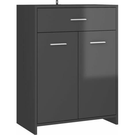 vidaXL Bathroom Cabinet High Gloss Grey 60x33x80 cm Chipboard - Grey