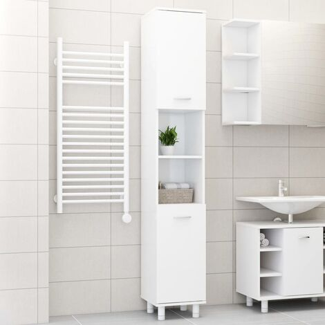 "main image of ""vidaXL Bathroom Cabinet High Gloss White 30x30x179 cm Chipboard - White"""