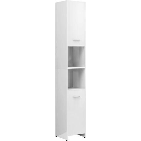 vidaXL Bathroom Cabinet High Gloss White 30x30x183.5 cm Chipboard - White