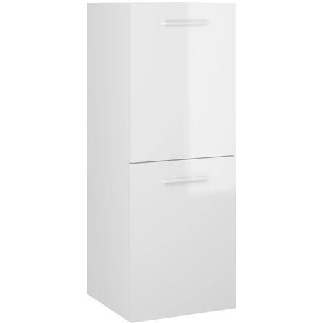 vidaXL Bathroom Cabinet High Gloss White 30x30x80 cm Chipboard - White