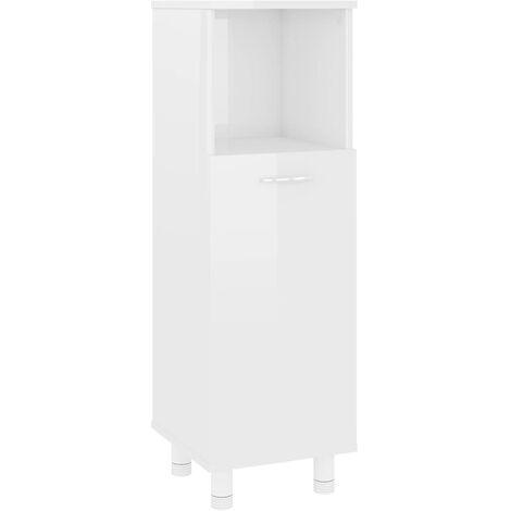 vidaXL Bathroom Cabinet High Gloss White 30x30x95 cm Chipboard - White