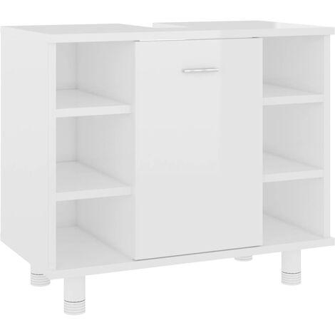 vidaXL Bathroom Cabinet High Gloss White 60x32x53.5 cm Chipboard - White