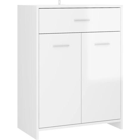 vidaXL Bathroom Cabinet High Gloss White 60x33x80 cm Chipboard - White
