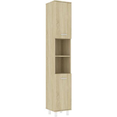 vidaXL Bathroom Cabinet Sonoma Oak 30x30x179 cm Chipboard - Brown