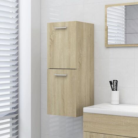 vidaXL Bathroom Cabinet Sonoma Oak 30x30x80 cm Chipboard - Brown