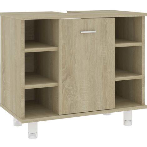 vidaXL Bathroom Cabinet Sonoma Oak 60x32x53.5 cm Chipboard - Brown