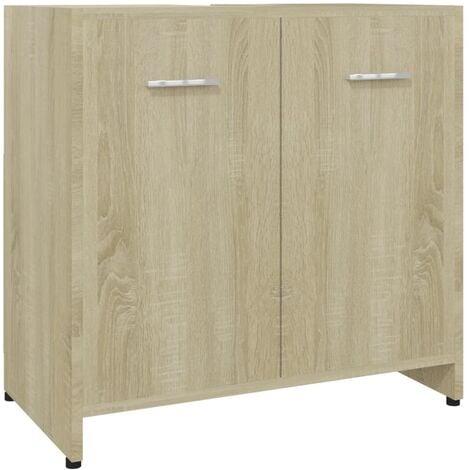 vidaXL Bathroom Cabinet Sonoma Oak 60x33x58 cm Chipboard - Brown