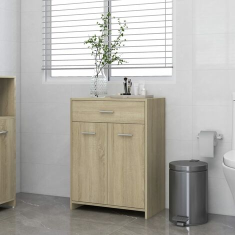 vidaXL Bathroom Cabinet Sonoma Oak 60x33x80 cm Chipboard - Brown