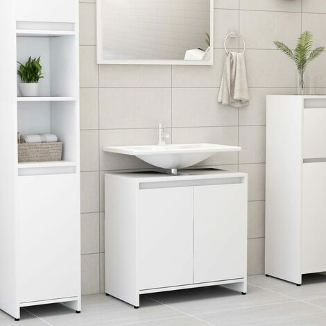 vidaXL Bathroom Cabinet White 60x33x58 cm Chipboard - White