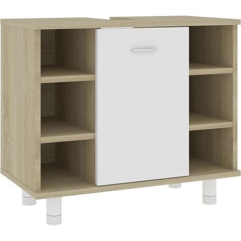 vidaXL Bathroom Cabinet White and Sonoma Oak 60x32x53.5 cm Chipboard - Beige