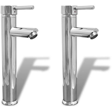 vidaXL Bathroom Faucet Mixer Taps 2 pcs Chrome - Silver