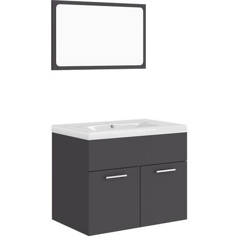 "main image of ""vidaXL Bathroom Furniture Set Grey Chipboard - Grey"""