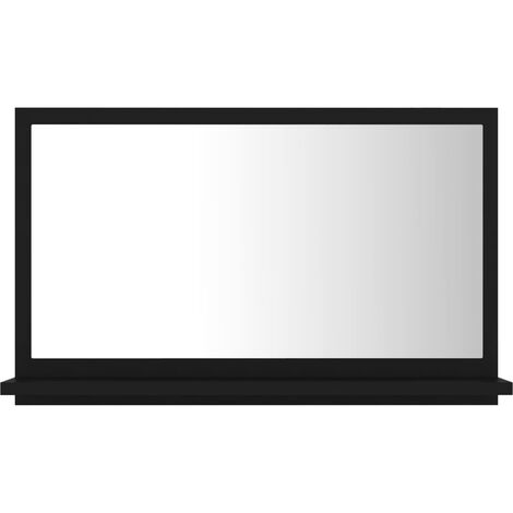 vidaXL Bathroom Mirror Black 60x10.5x37 cm Chipboard - Black