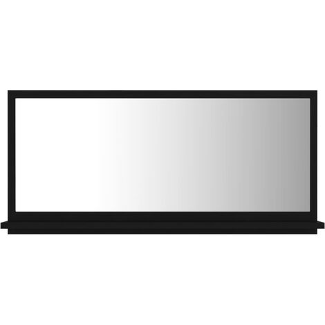 vidaXL Bathroom Mirror Black 80x10.5x37 cm Chipboard - Black