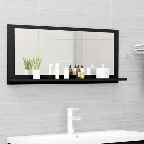 vidaXL Bathroom Mirror Black 90x10.5x37 cm Chipboard - Black