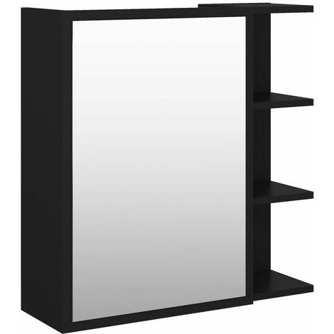 vidaXL Bathroom Mirror Cabinet Black 62.5x20.5x64 cm Chipboard - Black