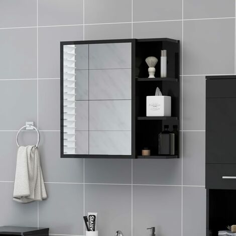 vidaXL Bathroom Mirror Cabinet High Gloss Black 62.5x20.5x64 cm Chipboard - Black