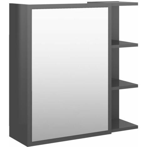 vidaXL Bathroom Mirror Cabinet High Gloss Grey 62.5x20.5x64 cm Chipboard - Grey