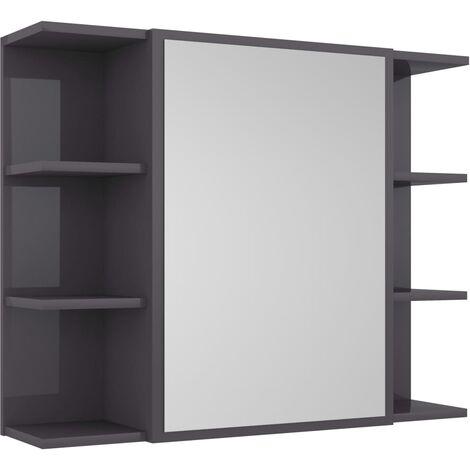 vidaXL Bathroom Mirror Cabinet High Gloss Grey 80x20.5x64 cm Chipboard - Grey