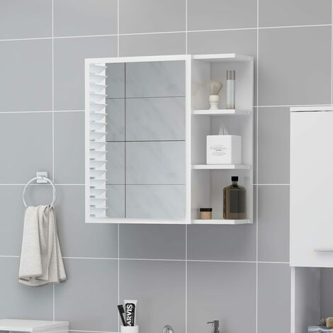 vidaXL Bathroom Mirror Cabinet High Gloss White 62.5x20.5x64 cm Chipboard - White