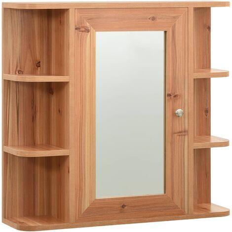 vidaXL Bathroom Mirror Cabinet Oak 66x17x63 cm MDF - Brown
