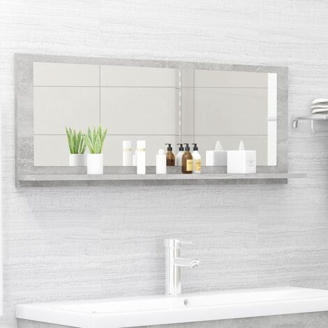 vidaXL Bathroom Mirror Concrete Grey 100x10.5x37 cm Chipboard - Grey