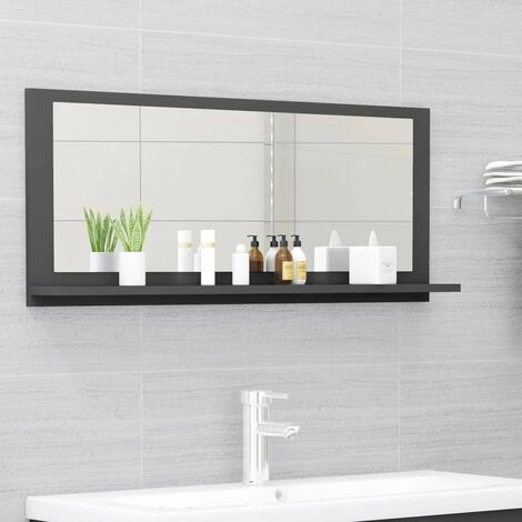 vidaXL Bathroom Mirror Grey 90x10.5x37 cm Chipboard - Grey