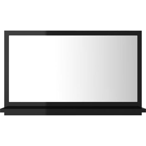 vidaXL Bathroom Mirror High Gloss Black 60x10.5x37 cm Chipboard - Black