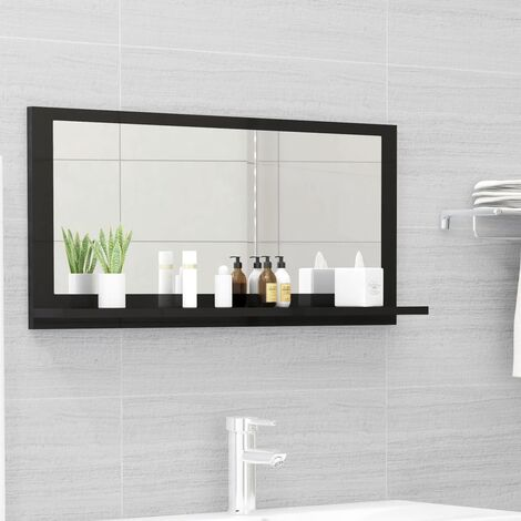 vidaXL Bathroom Mirror High Gloss Black 80x10.5x37 cm Chipboard - Black