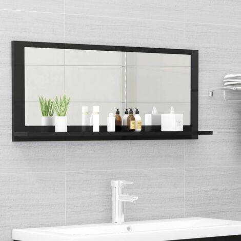 vidaXL Bathroom Mirror High Gloss Black 90x10.5x37 cm Chipboard - Black