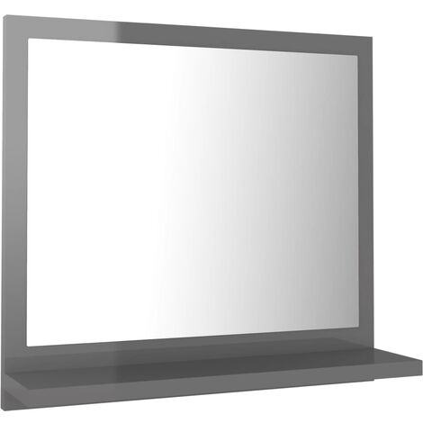 vidaXL Bathroom Mirror High Gloss Grey 40x10.5x37 cm Chipboard - Grey