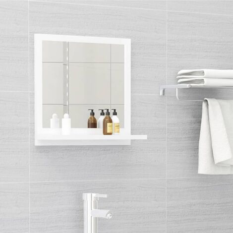 vidaXL Bathroom Mirror High Gloss White 40x10.5x37 cm Chipboard - White