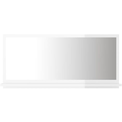 vidaXL Bathroom Mirror High Gloss White 80x10.5x37 cm Chipboard - White