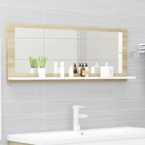 vidaXL Bathroom Mirror White and Sonoma Oak 100x10.5x37 cm Chipboard - Beige