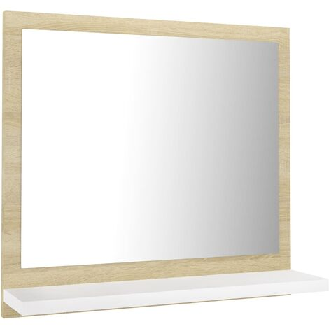 vidaXL Bathroom Mirror White and Sonoma Oak 40x10.5x37 cm Chipboard - Beige