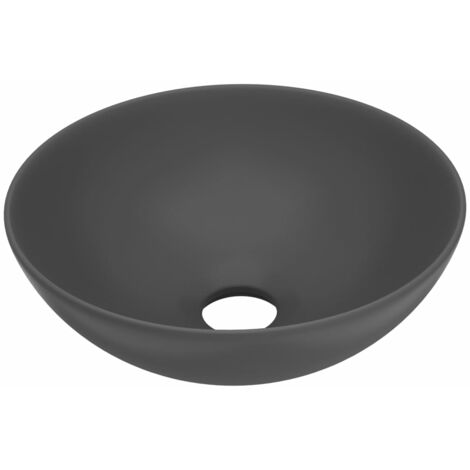 vidaXL Bathroom Sink Ceramic Dark Grey Round - Grey