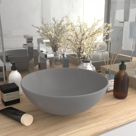 vidaXL Bathroom Sink Ceramic Light Grey Round - Grey