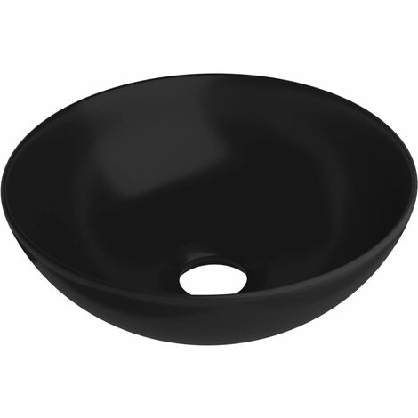vidaXL Bathroom Sink Ceramic Matt Black Round - Black