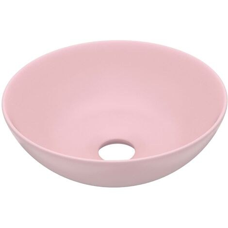 vidaXL Bathroom Sink Ceramic Matt Pink Round - Pink