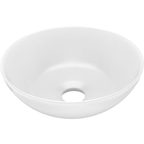 vidaXL Bathroom Sink Ceramic Matt White Round - White