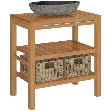 vidaXL Bathroom Vanity Cabinet Solid Teak Home Storage Shelf Freestanding Bathroom Home Indoor Furniture Sink Cabinet with Riverstone Sink